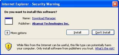 ActiveX Security Warning Window