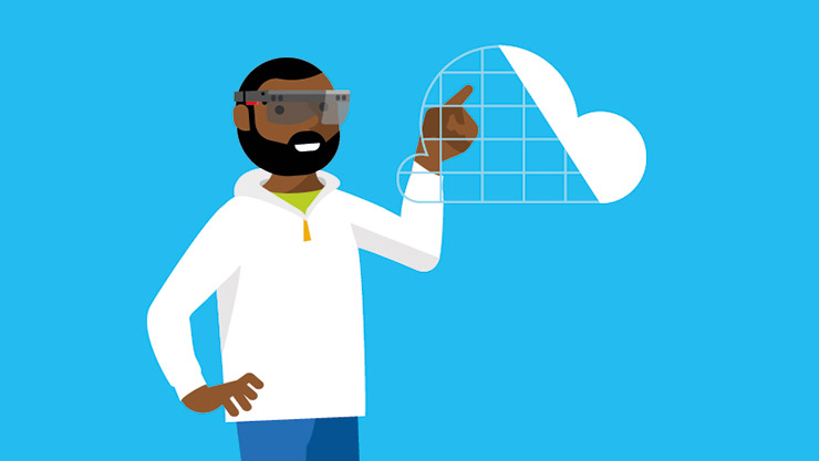 An illustrative depiction of a male data engineer wearing HoloLens and viewing a data visualisation""