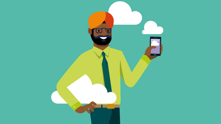 An illustrative depiction of a male consultant, holding a cloud under one arm and a phone in his other hand