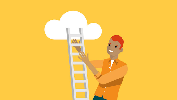 An illustrative depiction of a male solutions architect holding a ladder to the cloud
