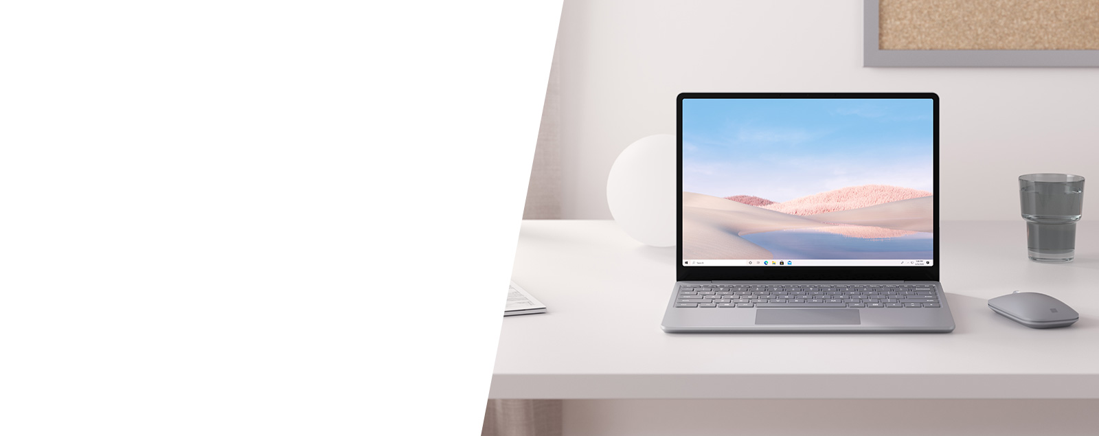 Surface Laptop Go in Platinum on a desk