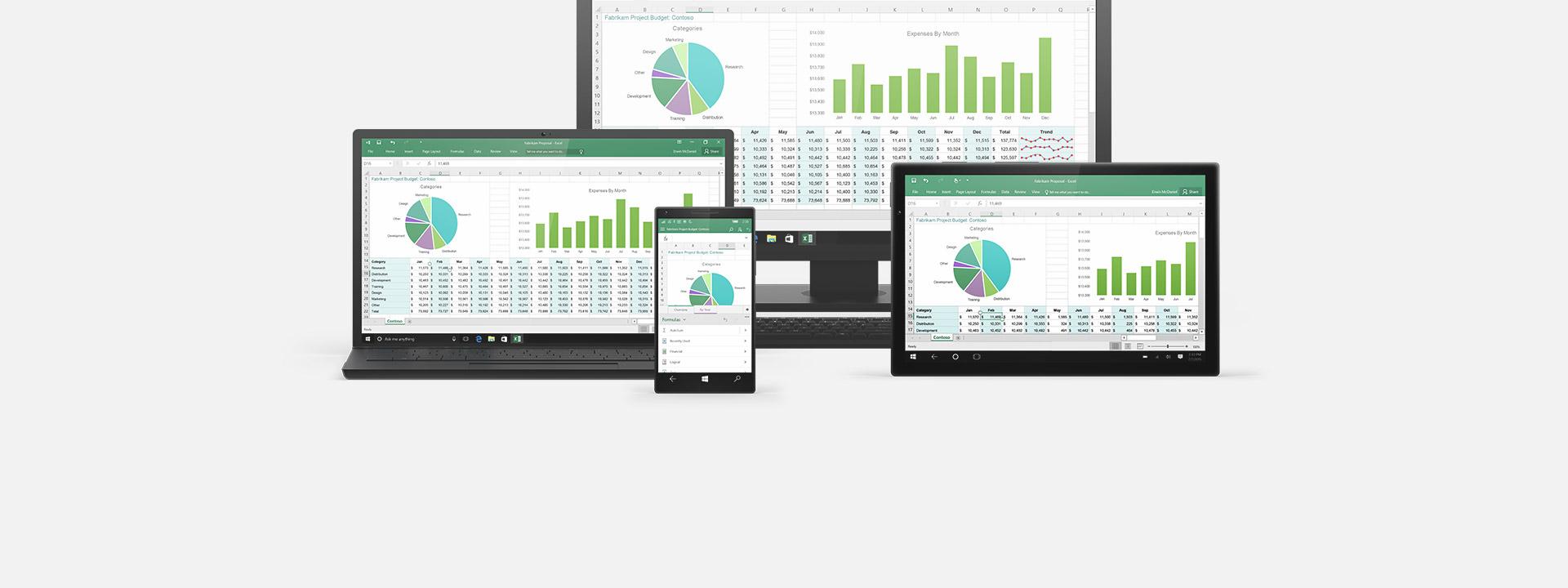 Několik různých zařízení, informace kOffice365