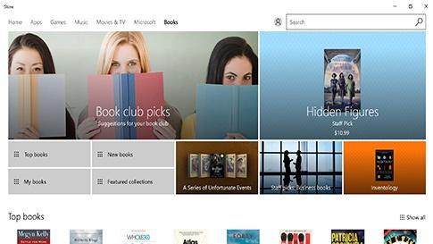Knihy Microsoft ve Windows Storu a prohlížeči Microsoft Edge
