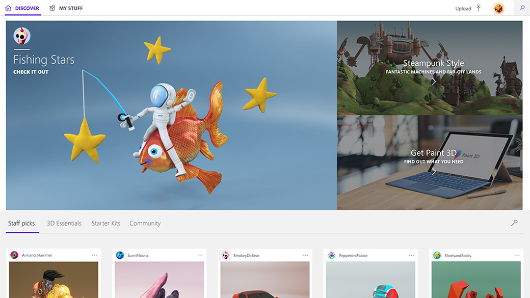 Domovská stránka komunity Remix3d.com