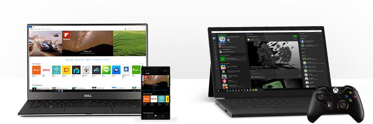 Počítač s Windows 10 PC s Windows Store zobrazujícím aplikace a počítač s Windows 10 zobrazující aplikaci Xbox ve Windows a ovladač Xbox