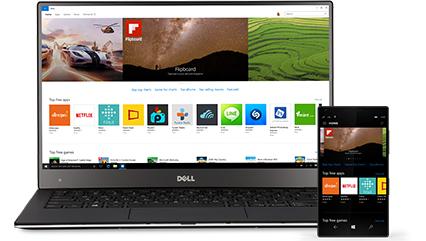 Počítač s Windows 10 s Windows Store zobrazujícím aplikace