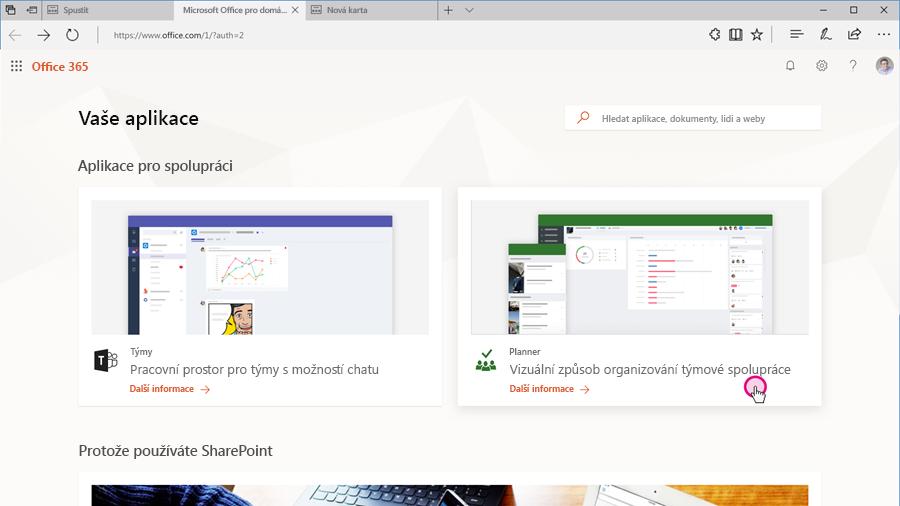 Snímek nové galerie Office 365, kde můžete prozkoumat své aplikace.