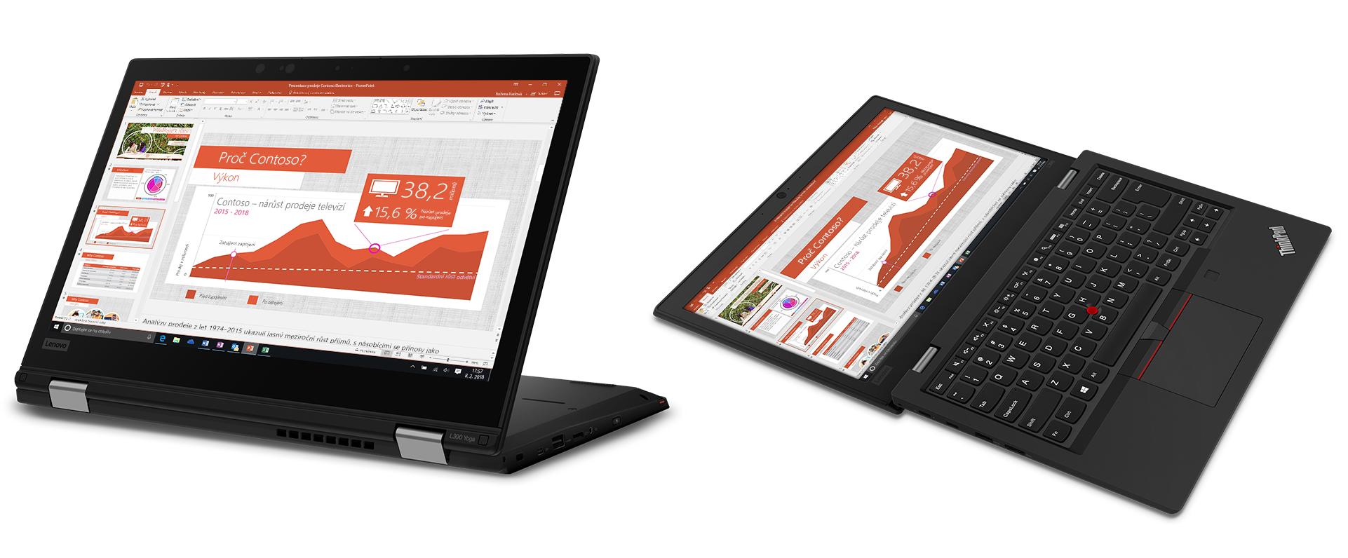 Obrázek přenosných počítačů Lenovo ThinkPad L390 a L390 Yoga.