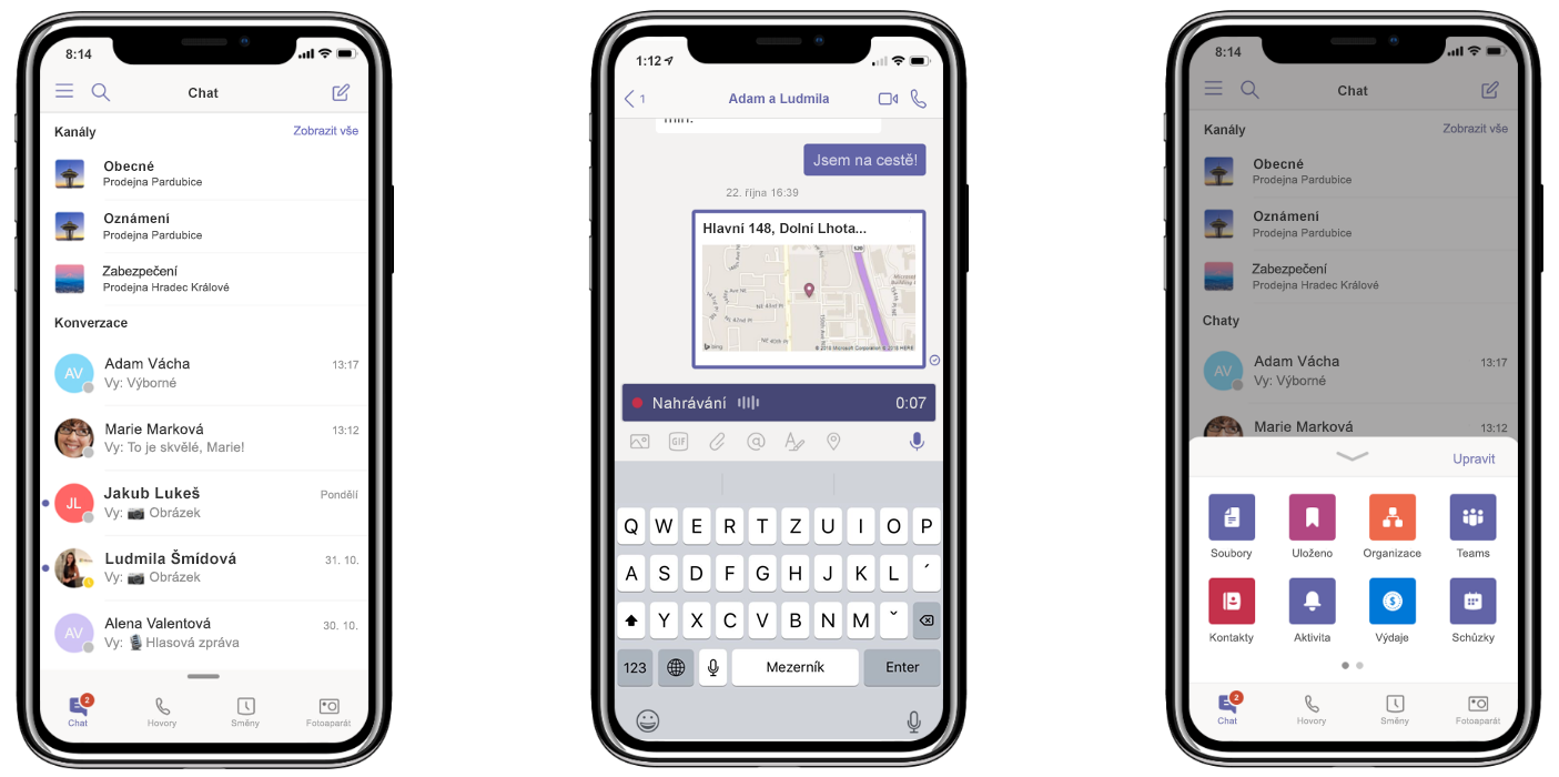 Tři iPhony zobrazují nové funkce Teams: všechny konverzace na jednom místě (vlevo), sdílení polohy a nahrávání zvukových zpráv (uprostřed) a přizpůsobení navigační nabídky (vpravo).
