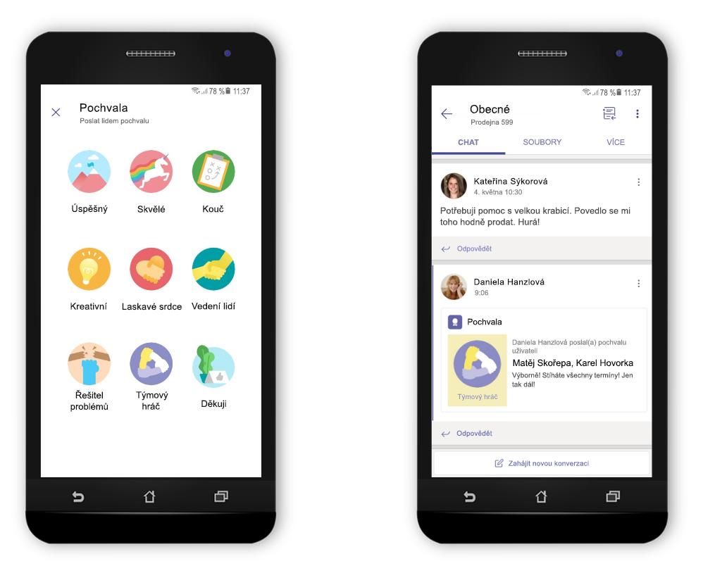 Dva mobilní telefony zobrazují použití nové funkce Praise v Teams.