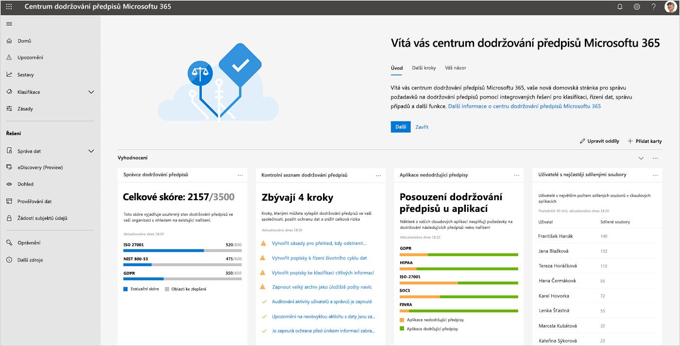 Snímek obrazovky s řídicím panelem Centra dodržování předpisů Microsoftu 365