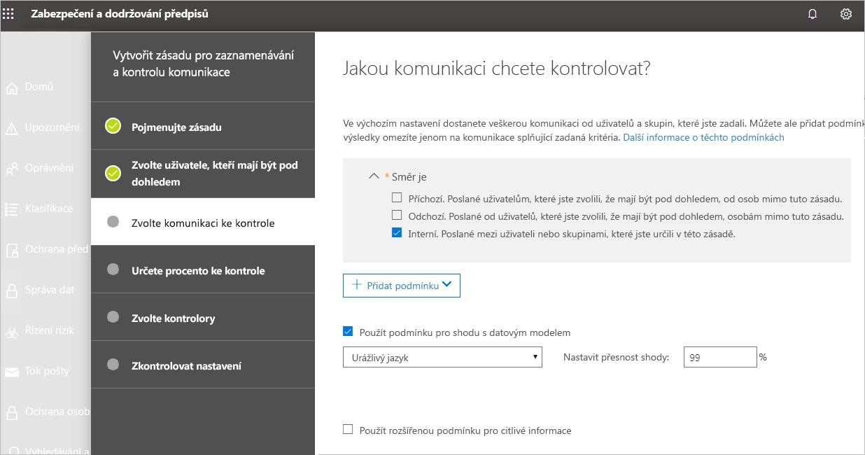 Snímek obrazovky centra zabezpečení a dodržování předpisů, ve kterém uživatel vybírá komunikaci ke kontrole. Zaškrtává možnost Interní.