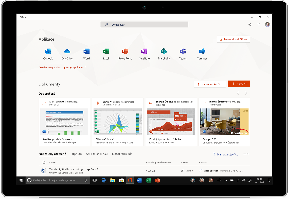 Obrázek tabletu s novými aplikacemi Office pro Windows 10
