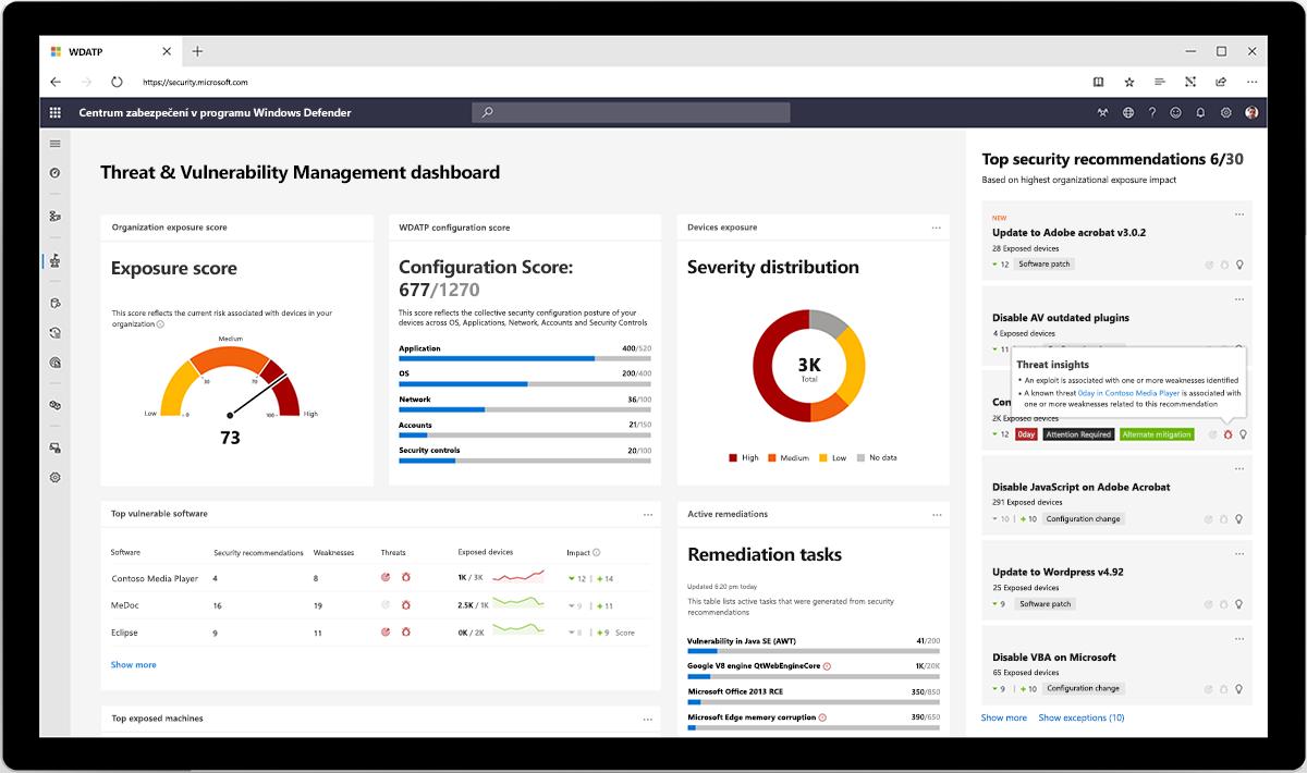 Obrázek řídicího panelu Centra zabezpečení v programu Windows Defender