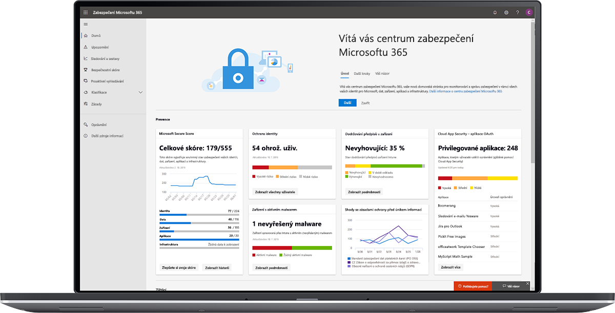 Obrázek řídicího panelu Centra zabezpečení Microsoftu 365
