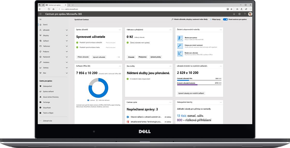 Obrázek řídicího panelu Centra pro správu Microsoftu 365