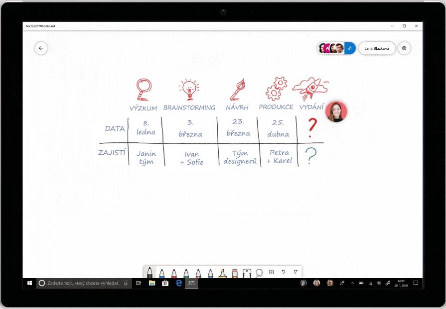 Snímek obrazovky s převodem na rukopis v aplikaci Microsoft Whiteboard