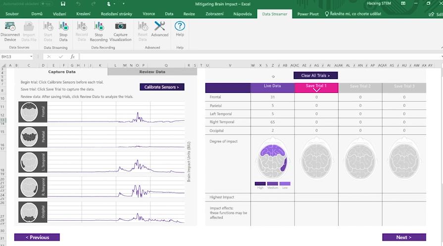 Snímek obrazovky se sešitem s informacemi o vlivu na mozek vytvořeným v Data Streameru v Excelu