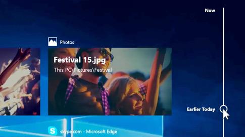 Den nye tidslinjeskærm i Windows 10 viser en tidslinje over tidligere apps og aktiviteter