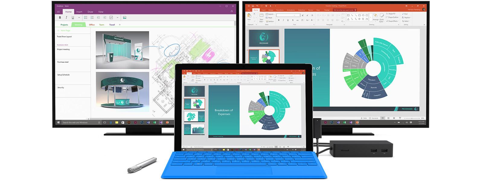 To almindelige computerskærme, Surface Pro 4, Surface Pen og Surface Dock