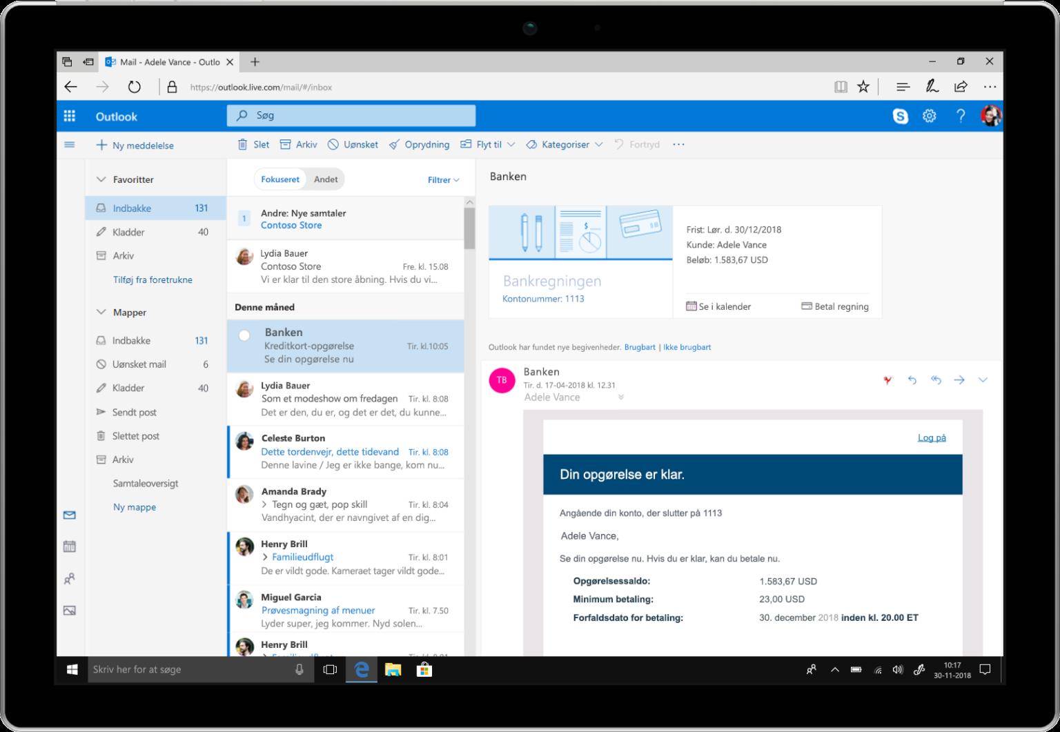 En tablet viser påmindelser om regningsbetaling i Outlook.