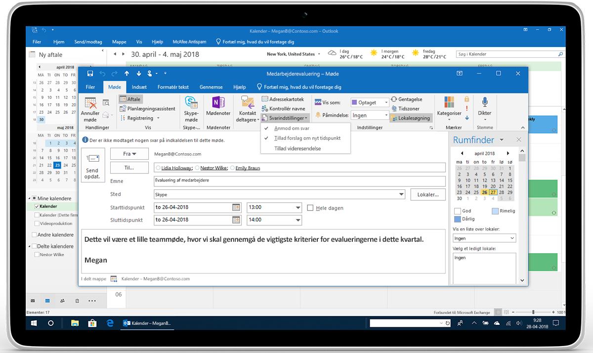 En tablet viser svarindstillinger for en mødeanmodning i Outlook.