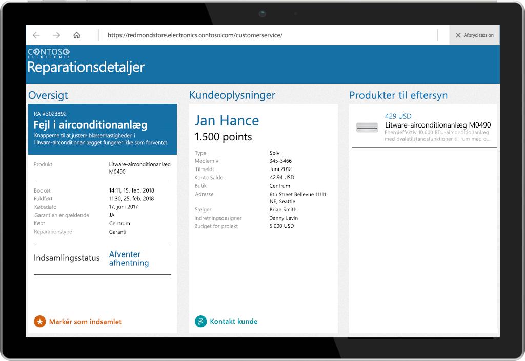 Billede af en tablet med Kiosk Browser fra Microsoft Store