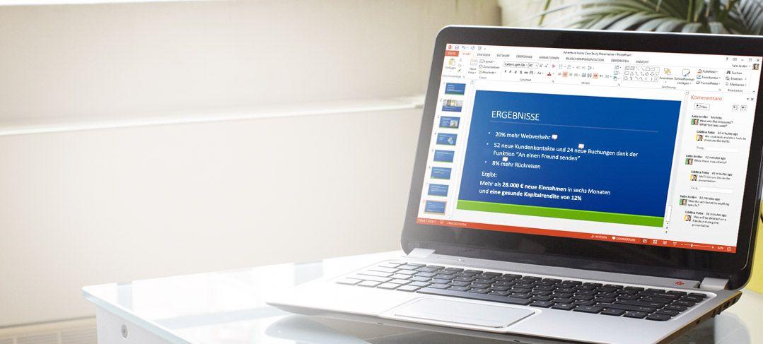 Eine freigegebene powerpoint präsentation auf einem laptop mit office