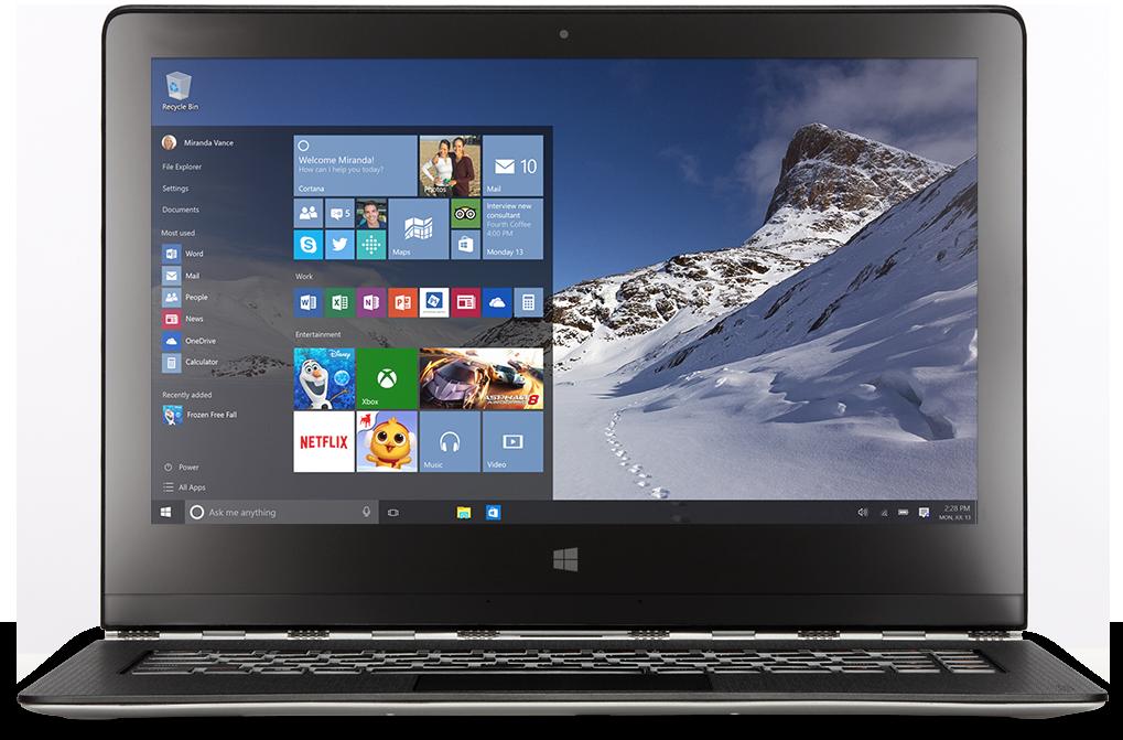 abbildung eines windows 10 desktops mit ministartbildschirm