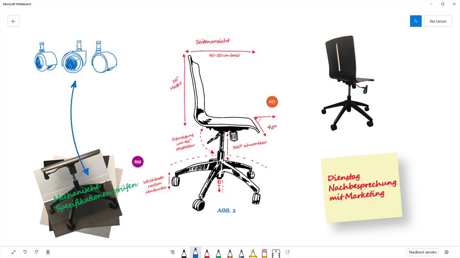 Konstruktionsskizze für einen Bürostuhl in Microsoft Whiteboard