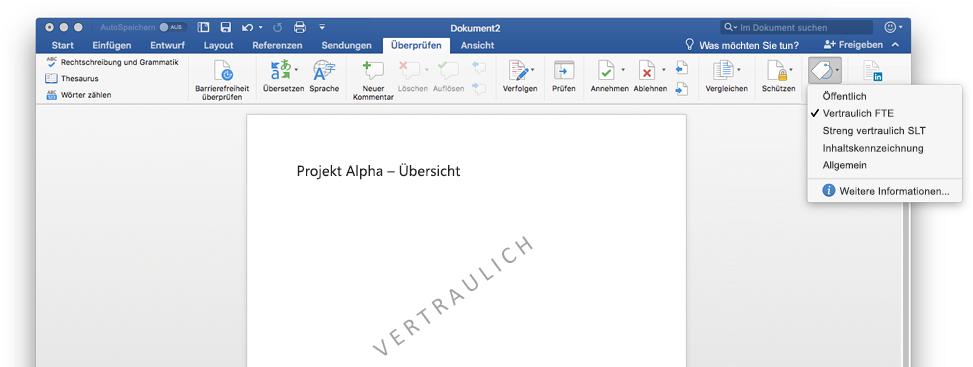 Ein Screenshot mit einem vertraulichen Word-Dokument, das ein Wasserzeichen enthält
