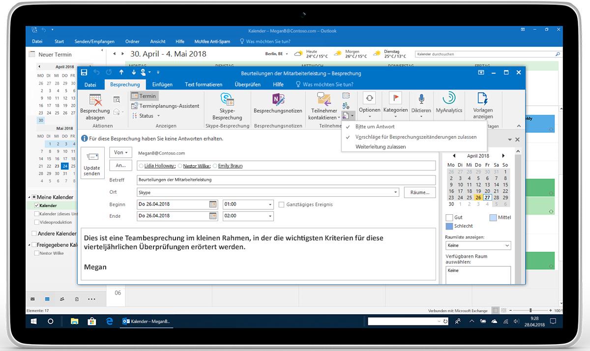 """Ein Tablet, auf dem """"Antwortoptionen"""" für eine Besprechungsanfrage in Outlook angezeigt wird"""