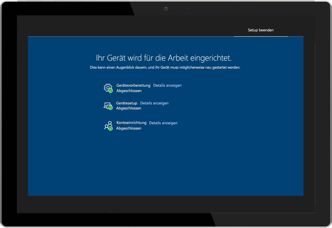 Abbildung eines Tablets, auf dem die Registrierungsstatus-Seite von Windows AutoPilot dargestellt ist