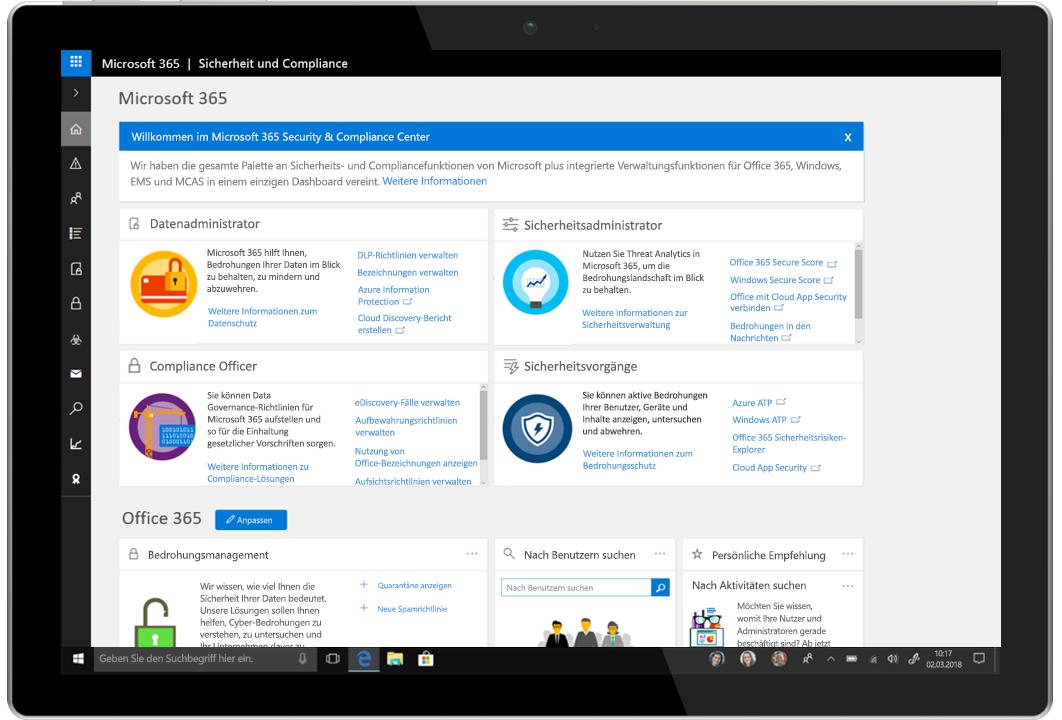 Abbildung eines Tablets, auf dem das Microsoft 365 Security & Compliance Center dargestellt ist