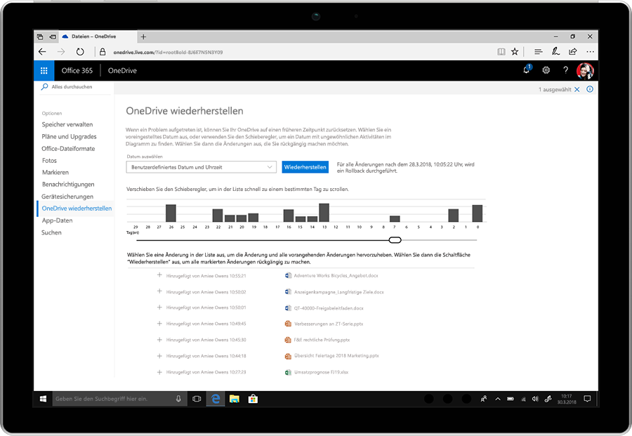 Screenshot mit der Funktion zur Dateiwiederherstellung in OneDrive