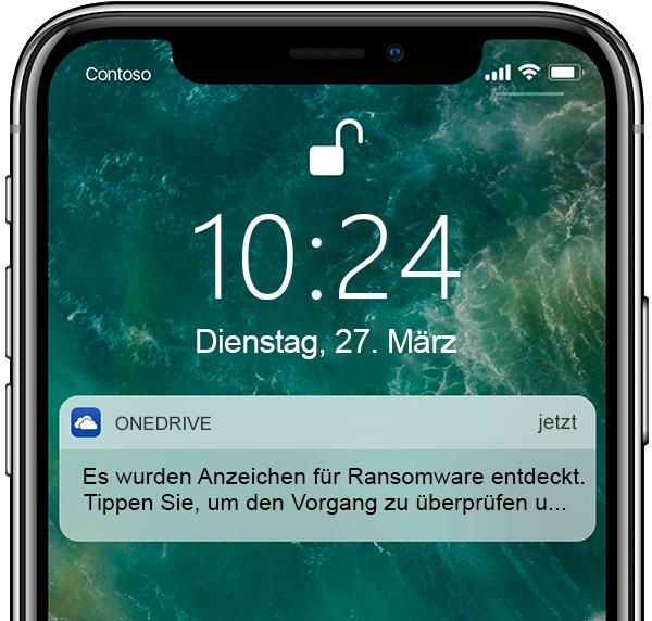Screenshot eines Smartphones mit einer Benachrichtigung der Ransomware-Erkennung und Dateiwiederherstellung