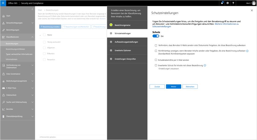Screenshot mit Schutzeinstellungen im Security & Compliance Center