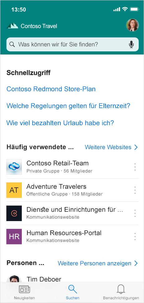 Abbildung der Suchregisterkarte in der mobilen SharePoint-App. Hier können Nutzer von unterwegs Kontakte, Inhalte und Antworten suchen und finden.