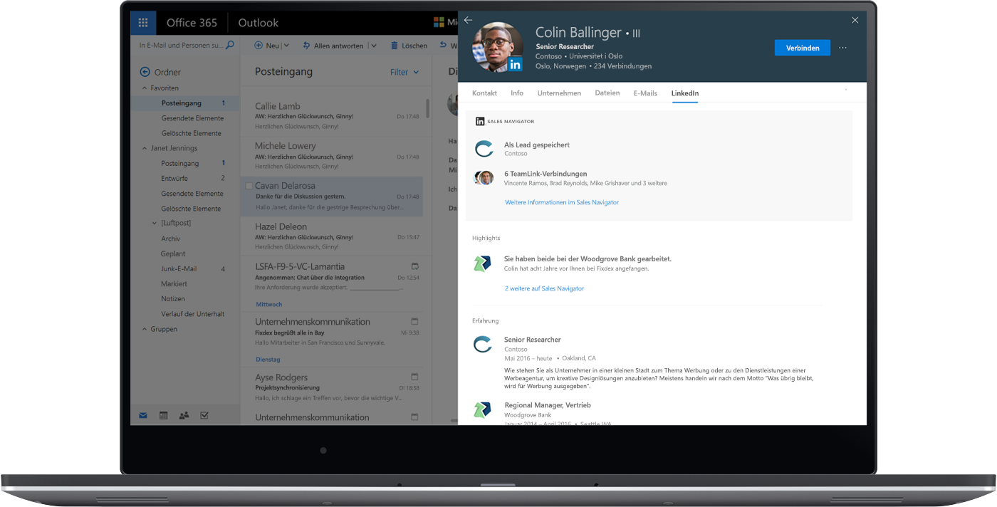 Ein Screenshot der LinkedIn Sales Navigator-Informationen direkt in der Webversion von Outlook