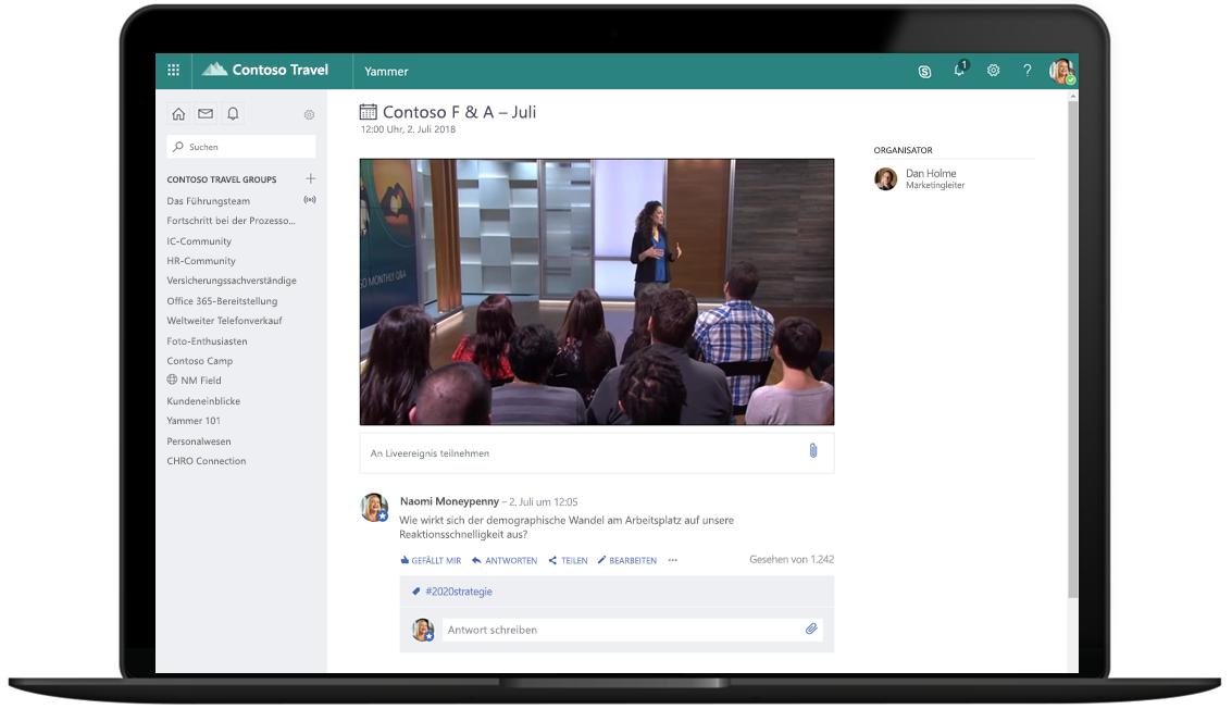 Abbildung eines geöffneten Laptops, auf dem ein Live-Event in Microsoft 365 angezeigt wird