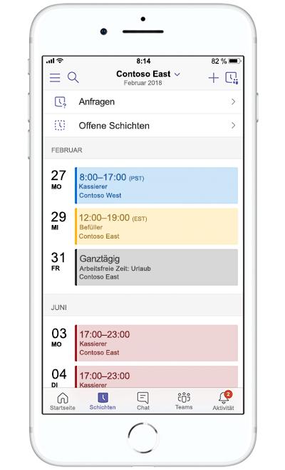 Abbildung eines mobilen Geräts, auf dem in Microsoft Teams ein Ereignis erstellt wird.