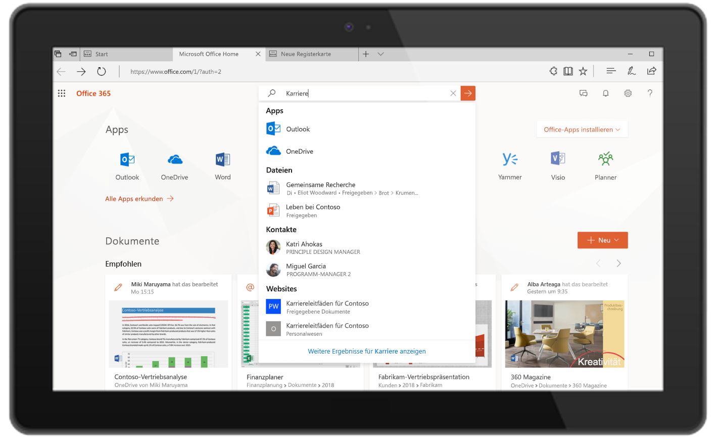 Abbildung von Microsoft Search in Office.com.