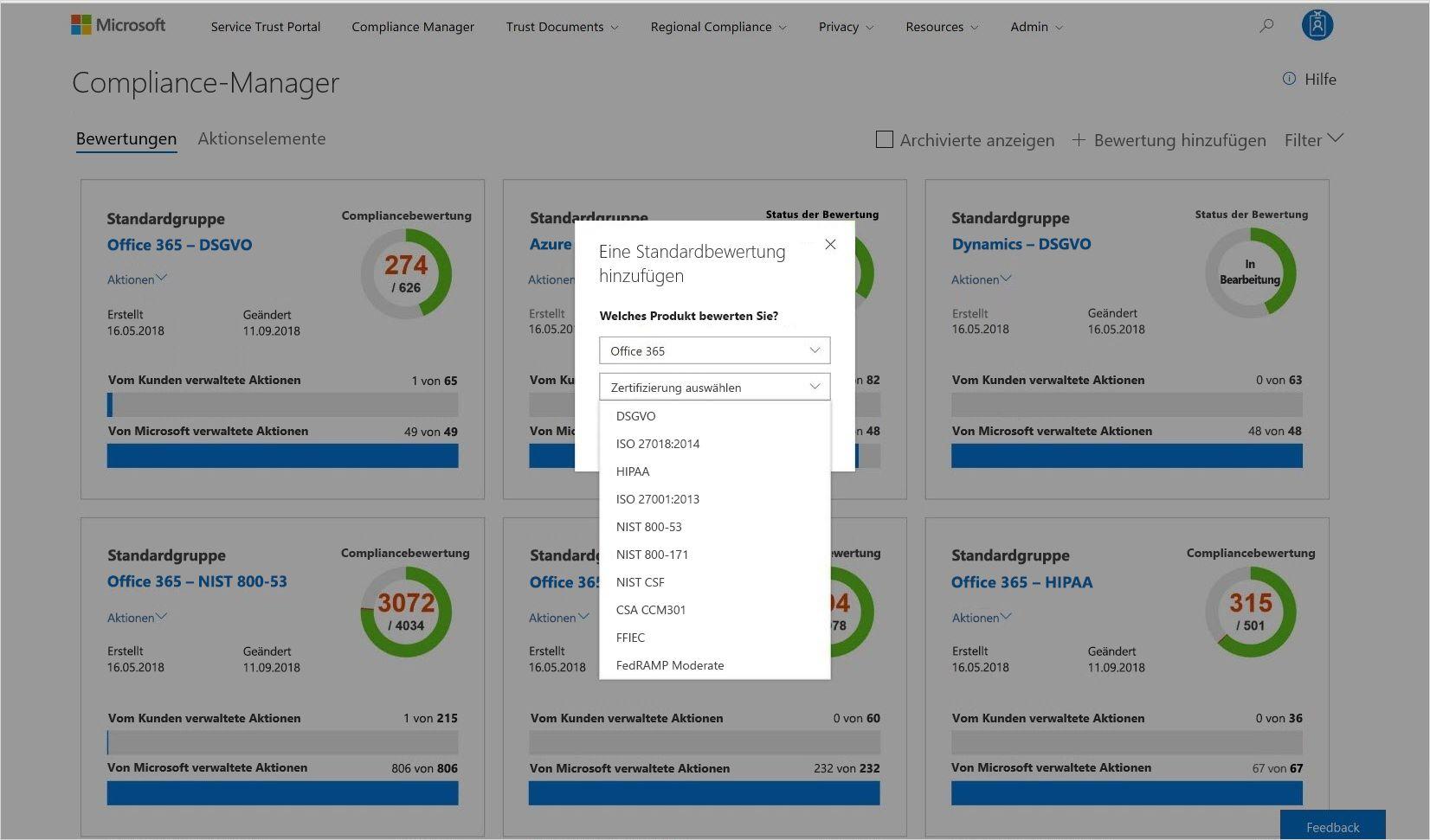 Screenshot einer Standardbewertung in Compliance-Mananger
