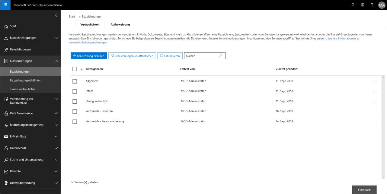 Screenshot der Kennzeichnungsfunktionen in Sicherheit und Compliance