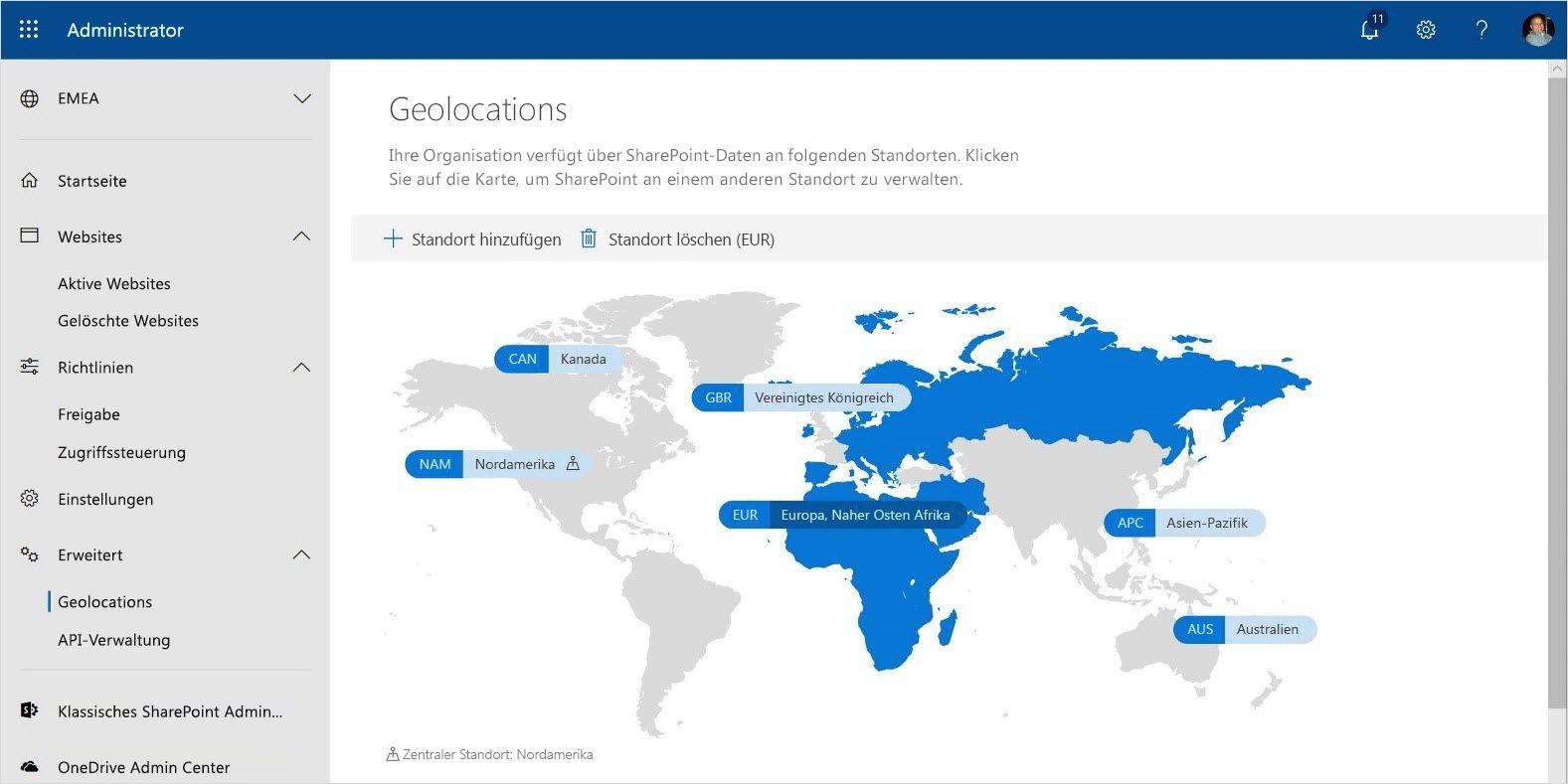 Screenshot der Multi-Geo Capabilities in Office 365