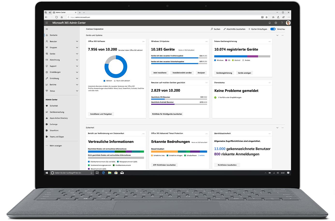 Abbildung des Microsoft 365 Admin Center auf einem geöffneten Laptop.
