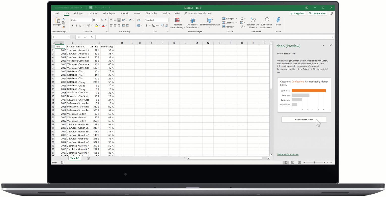 Eine animierte Grafik zeigt Ideen in Excel.