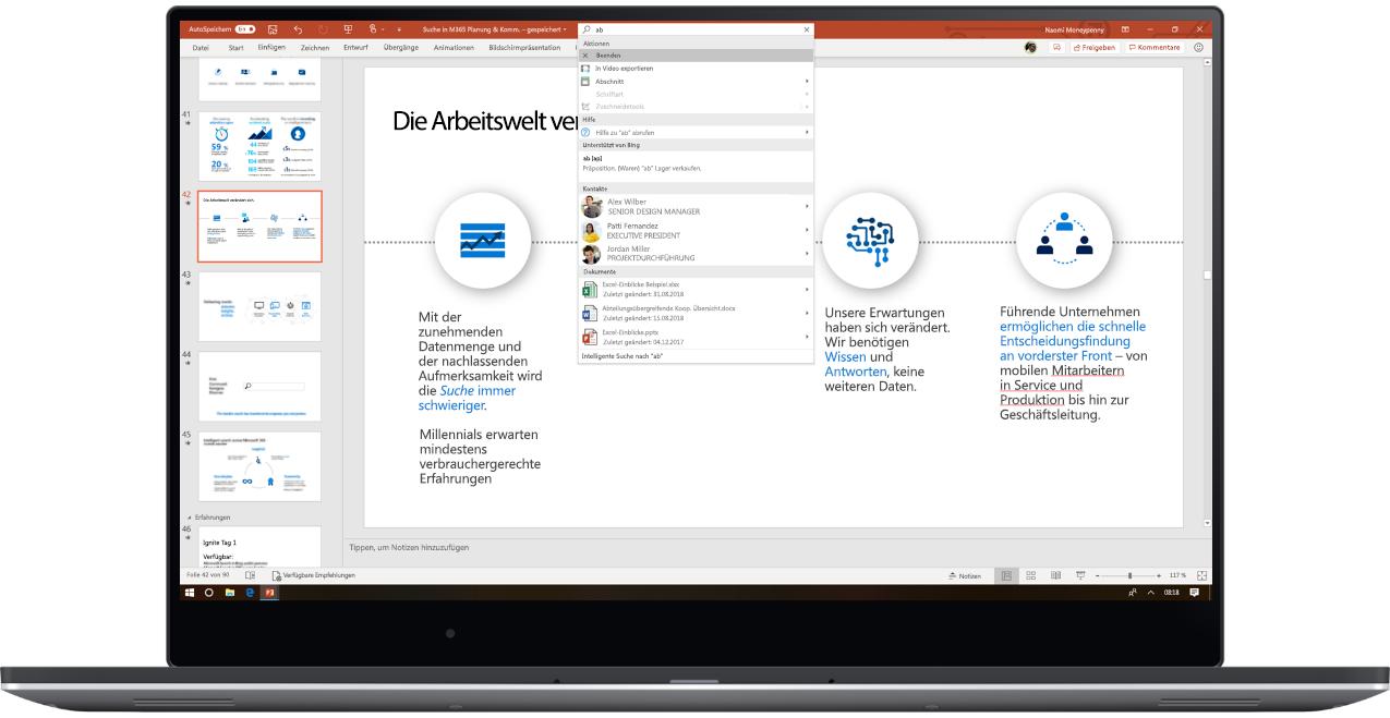 Abbildung eines Laptops mit PowerPoint und Microsoft Search in Benutzung.