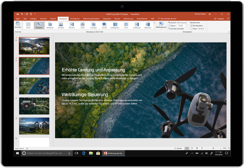 Abbildung eines Bildschirms mit PowerPoint in Office 2019.