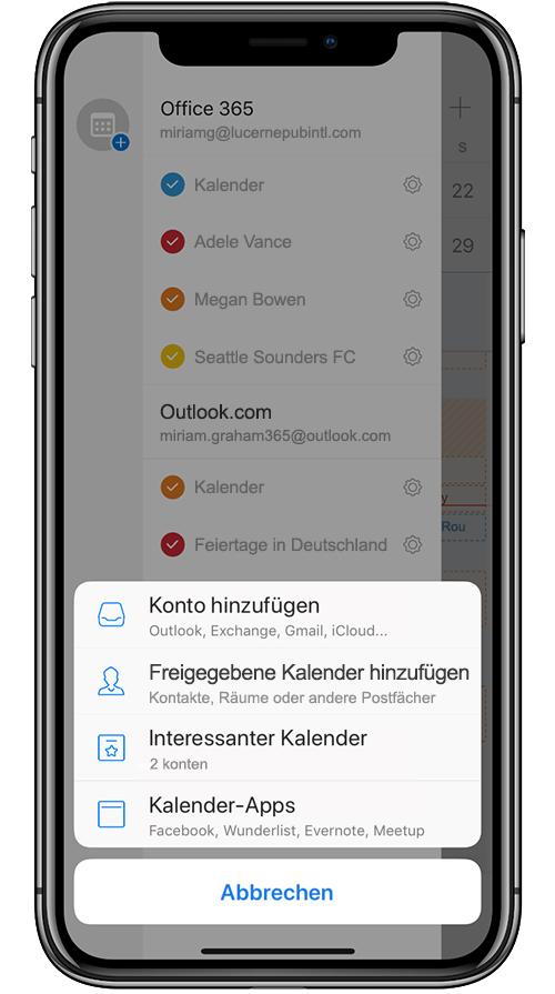 Abbildung eines mobilen Geräts beim Hinzufügen eines freigegebenen Kalenders in Outlook Mobile